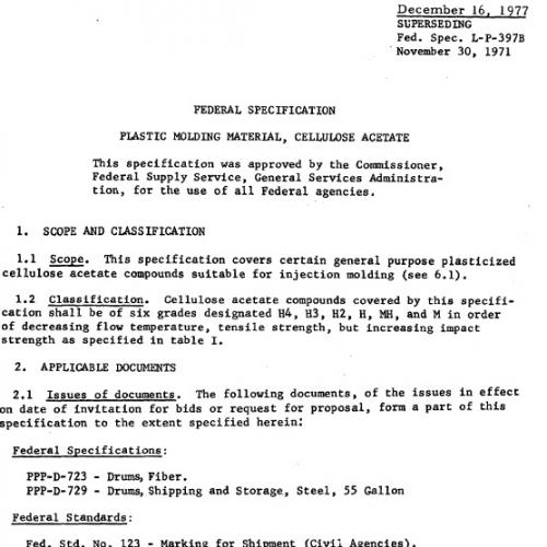 FEDERAL SPECIFICATION L-P-397C - CELLULOSE ACETATE - 1977